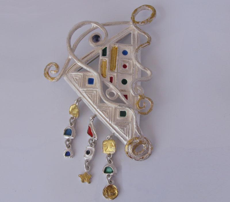 Spilla Klimt in argento puro e smalti